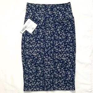 LulaRoe   Cassie Dark Blue Taupe Pencil Skirt XS